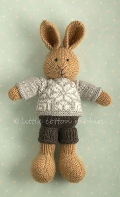 Cascade Heathers yarn (100% Peruvian highland wool). His jumper is in 'oak bark' and 'natural' Rowan Purelife organic cotton (100% organic a...