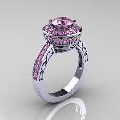 10K White Gold 1.0 Carat Light Pink Sapphire door DesignMasters, $1089.00