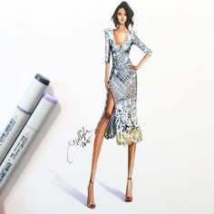 """Kerry obviously stuns in @marcjacobs. Sketched with @copicmarker  @kerrywashington styled by @erinwalshnyc #emmys #emmys2015 #emmysredcarpet #redcarpet…"""