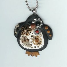 Steampunk Penguin Necklace Polymer Clay Jewelry
