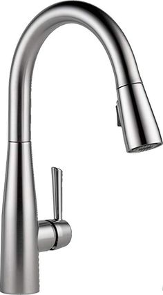 Delta Faucet Essa Single-Handle Kitchen Sink Faucet with Pull Down Sprayer and Magnetic Docking Spray Head, Arctic Stainless Brushed Nickel Kitchen Faucet, Black Kitchen Faucets, Kitchen Sinks, Kitchen Remodel, Bulthaup Kitchen, Touchless Faucet, Boffi, Smitten Kitchen, Delta Faucets
