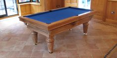 Traditional Pool Table in Oak colour 5 with a Royal Blue Cloth