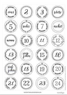 Adventskalender Ideen Advent calendar numbers to print * Printable, freebie for DIY DIY advent calen Advent Calenders, Diy Advent Calendar, Diy Cadeau Maitresse, Diy Calendario, Calendrier Diy, Christmas Time, Xmas, Christmas Countdown, Christmas Wrapping