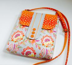LOVED working with this fabric!! Crossbody Hipster iPad tablet Purse, Cross body Case, Sling Messenger Travel Shoulder Handbag, Grey Tangerine Orange Geometric, Gray Floral on Etsy, $41.50