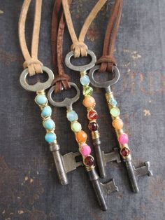 Antique skeleton key colorful necklace - FREEDOM - multi color stone glass…