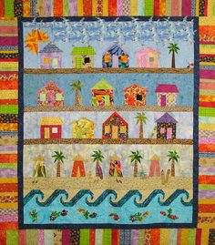 Beach Cabana is a paper pieced quilt. I'll be teaching Beach Cabanas at the Myrtle Beach Quilt Party in Jan. You can purchase your pattern here. House Quilt Patterns, House Quilt Block, Small Quilts, Mini Quilts, Beach Themed Quilts, Coastal Quilts, Nautical Quilt, Sewing Machine Quilting, Beach Quilt