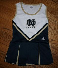 NOTRE DAME IRISH ADIDAS CHEERLEADER UNIFORM-Girl's Medium (10-12) Football/FREE SHIP