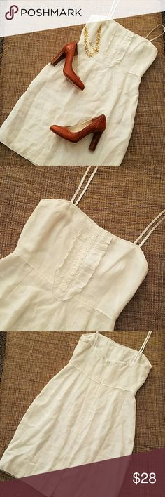 """J. Crew Dress🚨🔻PRICE DROPPED🔻 NWOT, NEW No Tags, spaghetti straps, 100% linen. Fully lined. Absolutely adorable. I had it add spaghetti straps, (you can unsew them) and never wore it, now it doesn't fit 😭 Corset """"bones"""" in the top part to give it form. It has a little rip at the tight top side by the strap. It can be fixed a think (last pic). Length not including straps  29"""", bust 15.5"""", waist 13"""", hips 19"""" J. Crew Dresses"""
