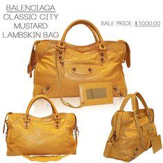 Balenciaga Classic City Mustard Lambskin Shoulder Bag