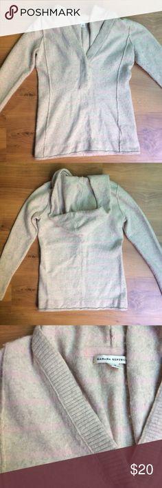 Pale Pink Lambs Wool Banana Republic Hoodie Super comfy hoodie from Banana Republic. Pale pink stripes. Hidden button closure at collar. V-neck. 47% lambs wool. 33% modal. 14% nylon. 4% cashmere. 2% Lycra spandex. Size S. Banana Republic Sweaters V-Necks