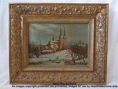 Stunning Winter Cityscape Roskilde Cathedral Denmark Oil Painting Unsigned  European Artworks from Chicago NY Designer Estate
