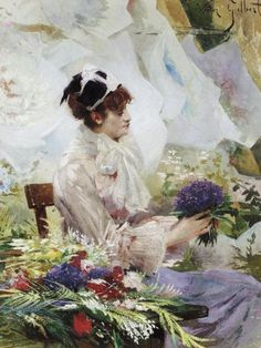 Flower Sellers by French Artist Victor-Gabriel Gilbert 1847-1933