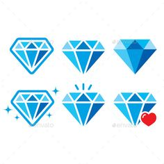 Blue, shiny diamonds icons set isolated on whiteFEATURES: 100 Vector Shapes All groups have names All elements are easy to modif