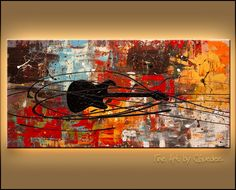 """Feel the Freedom"" Original Guitar Music Art  http://www.carmenguedez.com/abstract-art-paintings/feel-the-freedom"