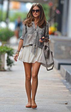 Olivia Palermo Summer style | sheer shirt | flow skirt