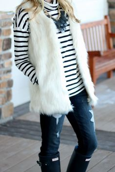 White Faux Fur Vest with a striped sweater and hunter boots Fall Winter Outfits, Winter Dresses, Autumn Winter Fashion, Dress Winter, Winter Style, Fall Fashion, White Fur Vest, Faux Fur Vests, Fur Vest Outfits