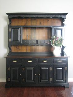 Painted Hutch  | Black Hutch  Painting Old China Hutch | european paint finishes refinished painted furniture china cabinet ...