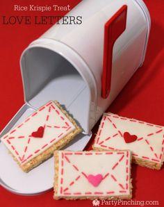Rice Krispie Treat Love Letters, Valentine's Day treats, easy Valentine's day…