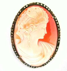 Victorian Cameo Brooch Pendant Marcasites by nanascottagehouse, $125.00