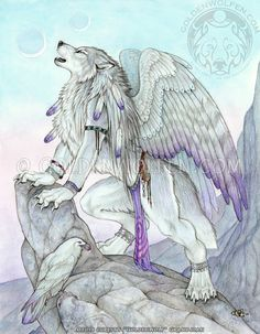Fantasy Winged Antho Wolf Werewolf Print by goldenwolfart on Etsy