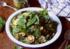 Fried zucchini and quinoa salad with broccoli pesto -- to her core