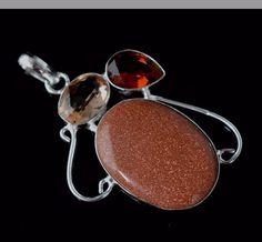 Beautiful Sunsitara-Hydro Quartz-Garnet Quartz 925 Silver Plated Pendant F806 #valueforbucks #Pendant