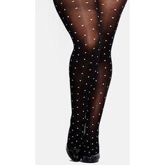 Plus Size Women's City Chic Spotted Tights ($12) ❤ liked on Polyvore featuring intimates, hosiery, tights, plus size, black pantyhose, plus size pantyhose, plus size tights, polka dot hosiery and plus size women in pantyhose