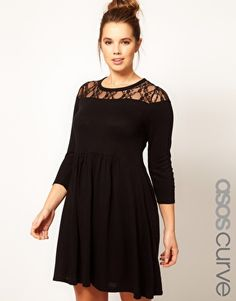 ASOS CURVE Exclusive Knitted Dress With Lace
