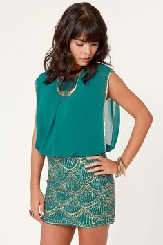 La Sirena Teal and Gold Sequin Dress