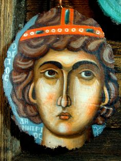 Saint Demetrius Icon on wood slice Handpainted in 2019 13 x 10 cm Byzantine Icons, Wood Slices, Hand Painted, Traditional, Canvas, Color, Art, Style, Tela