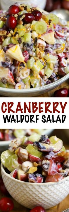 Cranberry Waldorf Salad has crisp apples, juicy grapes and tart cranberries in a sweet yogurt dressing. This is the perfect salad or turkey dinner side dish!