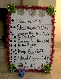 Christmas gift exchange game, would be fun for cub scout activity Xmas Games, Holiday Games, Christmas Party Games, Family Christmas Gifts, Winter Christmas, All Things Christmas, Christmas 2019, Holiday Fun, Christmas Crafts