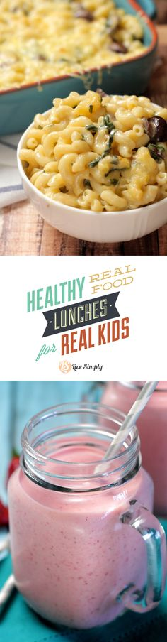 Over 60 recipes and ideas for creating healthy real food lunches for kids! From kid favorites like mac and cheese to hot dog remakes to smoothies and homemade gummies. This list has it all.