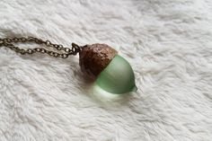 Acorn necklace with bronze chain. Light green by CaughtinTimeUK