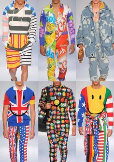 it has oversize slogans and pop smiley prints, flags and badges prints and cut and paste prints