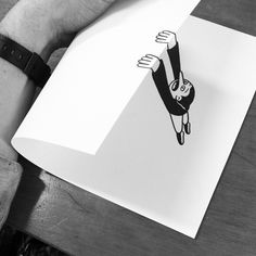 Illustrator HuskMitNavn's simple paper folds create fantastic illusions of drawings brought to life. #illustration #drawing #art #opticalillusion