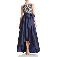 Adrianna Papell Petites High/Low Taffeta Gown ($249) ❤ liked on Polyvore featuring dresses, gowns, navy nude, navy evening gown, blue gown, petite gowns, petite dresses and blue evening dresses