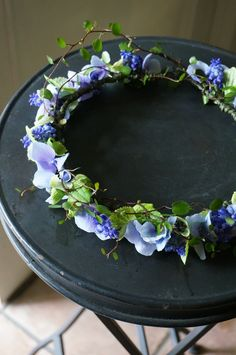 a flexible branch and blue flowers attach with metal wire - Lilly is Love Flowers In Hair, Fresh Flowers, Blue Flowers, Wedding Flower Arrangements, Wedding Bouquets, Floral Wedding, Wedding Flowers, Floral Crown, Crown Flower