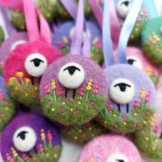 A needle felted and embroidered sheep on a hand dyed wool felt hanging decoration, by British Textile Artist Maxine Smith. Quirky sheep and delicate hand embroidery. Hangs by ribbon. Cute for a nursery bedroom or for decorating your Christmas tree Felt Decorations, Christmas Decorations, Christmas Tree, Christmas Ornaments, Holiday Decor, Textile Artists, Novelty Gifts, Embroidered Flowers, Small Gifts