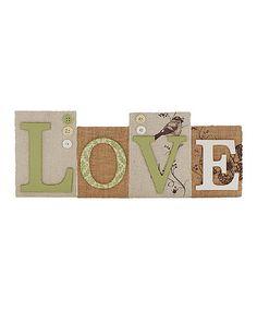 Look what I found on #zulily! 'Love' Block Sign #zulilyfinds