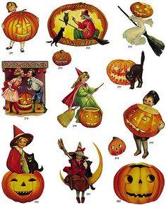 Free freebie printable vintage Halloween scraps, which, pumpkins, etc.