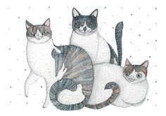 Cat Watercolor Giclee' PRINT  Painting  cat / by NORAillustration