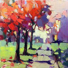 Fall Trees by Trisha Adams Oil ~ 12 x 12
