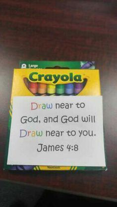 Operation Christmas Child Shoebox~ Draw near to God and God will draw near to you. James 4:8 ~my child is so literal he would think he has to draw