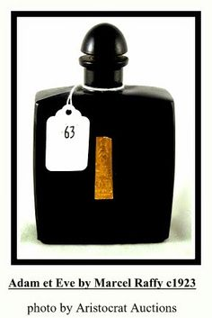 Adam et Eve by Marcel Raffy: launched in square shaped black glass bottle w/ rounded corners, and glass button stopper, gilded embossed label on front. Black Perfume, Vanity Design, Vintage Perfume Bottles, Black Glass, Glass Bottles, Vintage Black, Flask, Barware, Product Launch