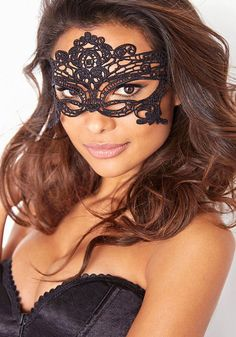 Venetian-Style Crochet Mask - Sophisticated Black Mask