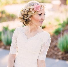Gorgeous Light Pink and Ivory Flower Crown, Boho Chic Flower Crown