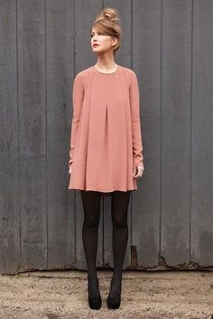 Dress it up, dress it down, wear it all around town - trapeze dress with tights is a perfect look