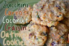 Zucchini Carrot Oatmeal Craisin Cookies omitted coconut added flax seed and almonds!