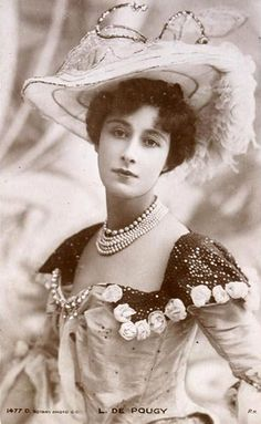 While honeymooning (1895) in Monte Carlo, the Duchess of Marlborough (Consuelo Vanderbilt) became aware of several prominant courtesans including Liane de Pougy, a Folies Bergères dancer renowned as one of Paris's most beautiful and notorious women who later married Rumanian Prince Ghika.